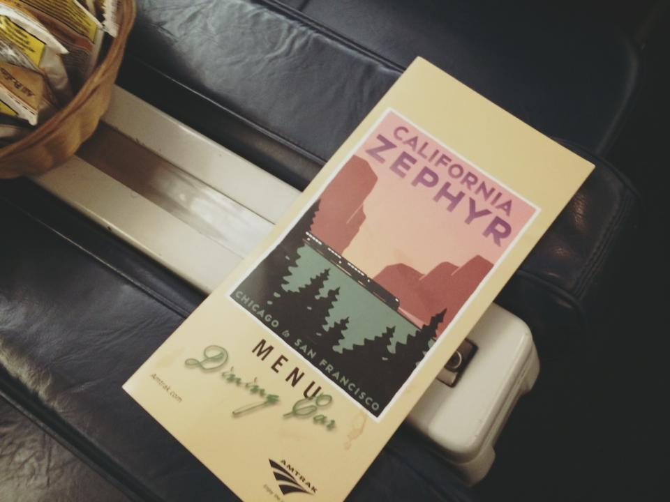 California zephyr dining menu