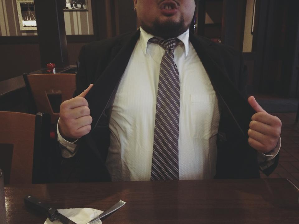 wearing a suit at tgi fridays