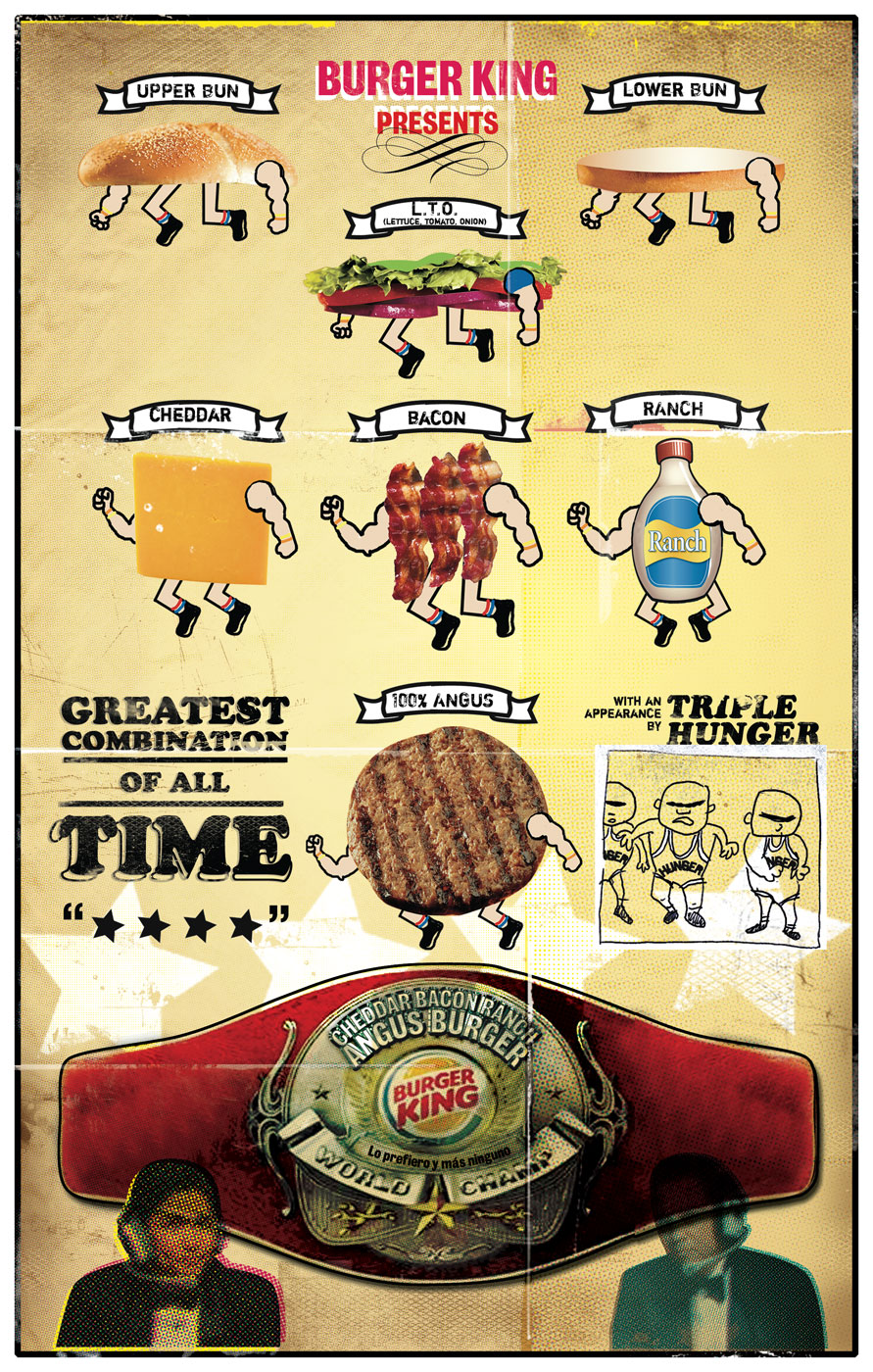 Burger King Cheddar Bacon Ranch Wrestling Poster