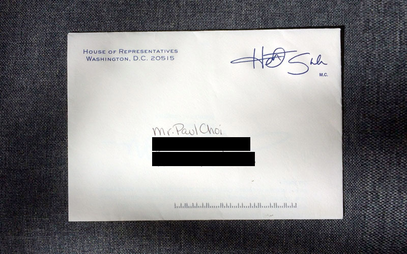 Heath Shuler Envelope